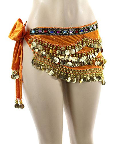 Orange Gold Coins Velvet Rave EDC Belly Dance Skirt Hip Scarf Costume 193 coins