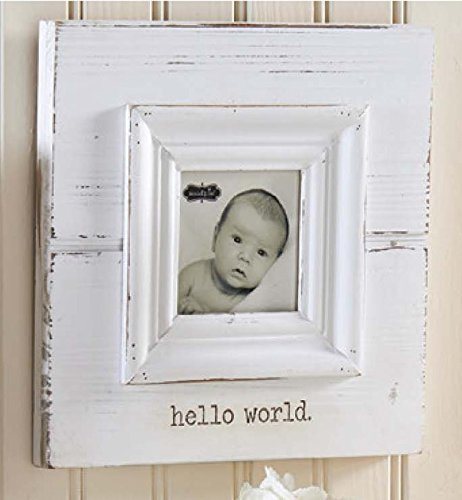 Hello World White Baby Frame by Mud Pie - 1