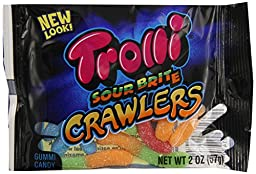 Trolli Sour Brite Crawlers Gummy Candy, 2 Ounce Bag,  (Pack of 24)