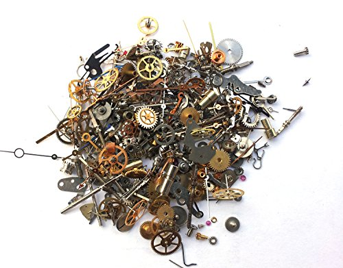 Steampunk Watch Parts - 300 plus pieces of TEENY TINY VINTAGE gears, cogs, wheels, hands, crowns, stems, etc. (Vintage Pieces compare prices)