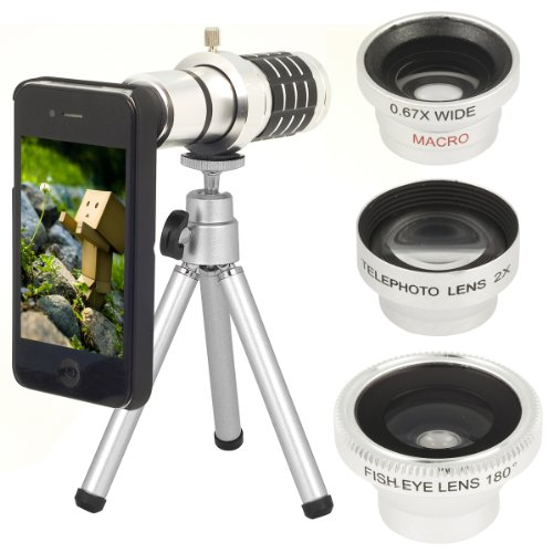 Xcsource® 5 In1 Wide + Macro + 180 Degree Fish Eye + 2X Lens + 12X Zoom Kit For Iphone 4 4S Dc311