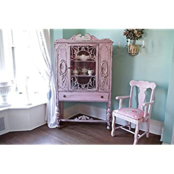 Antique China Cabinet Shabby Chic Pink Distressed Cottage Prairie