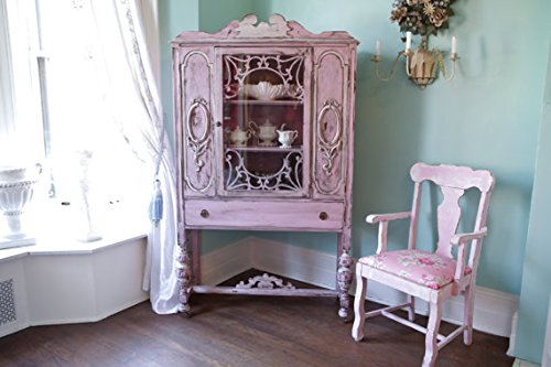 Antique China Cabinet Shabby Chic Pink Distressed Cottage Prairie 0