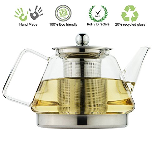 ToYo Hofu Heat Resistant Borosilicate Clear Glass Tea Pot Induction Kettle Coffee Flower Teapot with Stainless Steel Infuser and Lid,1000ml /33 Oz (Tea Pot Induction compare prices)