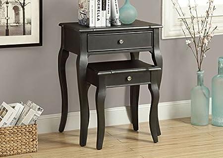 ANTIQUE BLACK VENEER 2PCS NESTING TABLE SET (SIZE: 23L X 15W X 29H)