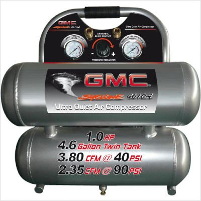 GMC SYCLONE 4610A Ultra Quiet & Oil-Free Air Compressor (Twin Aluminum Tank)
