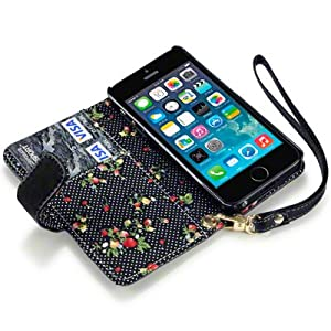 Terrapin PU Leather Wallet Case/Cover/Pouch/Holster with Floral Interior for iPhone 5S - Black