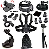Black Pro 15-in-1 Basic Common Outdoor Sports Kit for All Gopro Hero4 Silver Black Hero 4 3+ 3 2 in Parachuting Swimming Rowing Skiing Climbing Bike Riding Camping Diving Outing Any Other Outdoor Sports, Chest Belt Strap Mount+ Extendable Handle Monopod + Car Suction Cup Mount Holder + Floating Handle Grip + 2 PCS Tripod Mount Adapter+ + Bike Handlebar Mount Holder + Rotating Adjustable Wrist Mount+black Pro Cleaning Cloth+black Pro Lanyard+2 PCS Gopro Surface J-hook+ 360 Rotary Clip Mount+head Belt Strap Mount+big Pouch