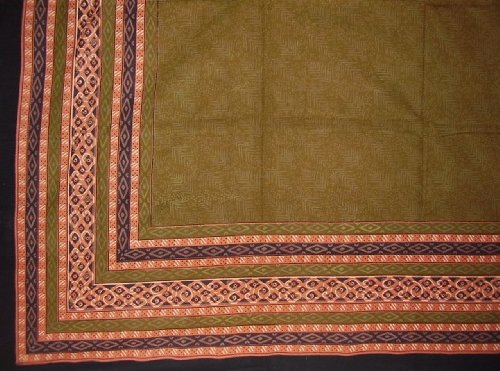 Calico Print Indian Bedspread Coverlet Throw Olive Green front-793774