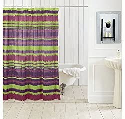 Tjar PVC Striped shower curtain with 12 hooks