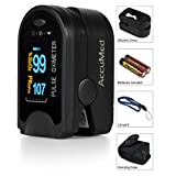 AccuMed® CMS-50D Pulse Oximeter Finger Pulse Blood Oxygen SpO2 Monitor w/ Carrying case, Landyard Silicon Case & Battery (Black)