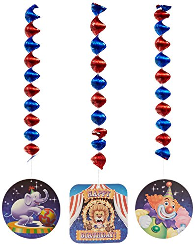Creative Converting Big Top Birthday 3 Count Dangling Cutouts Hanging Party Decoration
