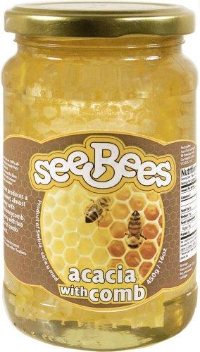 SeeBees Acacia Honey w/ Chunk Honeycomb (16oz)