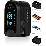 AccuMed CMS-50D Pulse Oximeter Finger Pulse Blood Oxygen SpO2 Monitor W Carrying Case Landyard Silicon Case Battery...