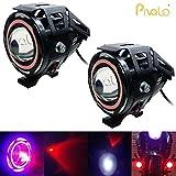 #4: Pivalo U7 LED Fog Light Bike Driving DRL Spotlight, High/Low Beam, Flashing With Red Angel Eyes Light Ring -Pack of 2