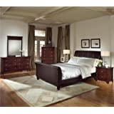 Roundhill Furniture Le Charmel 5-Piece Blended Leather Sleigh Bedroom Set, Includes King Bed, Dresser, Mirror and 2 Night Stands