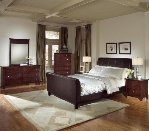 check 5pc blended leather sleigh bedroom set king bed dresser mirror