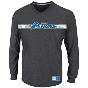 NFL Detroit Lions Men's Victory Pride V Long Sleeve V-Neck Tee, Charcoal/Stone Gray, Small