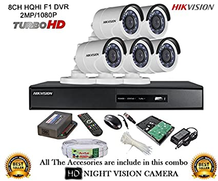 Hikvision-DS-7208HQHI-E1-8Ch-Dvr,-5(DS2CE16DOT-IR)-Bullet-Camera-(With-Mouse,-Remote,-2TB-HDD,-Cable,-Bnc&Dc-Connectors,Power-Supply)