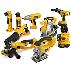 DEWALT DC9PAKRA Heavy-Duty 18-Volt Cordless 9-Tool Combo Kit with Hammer Drill/Driver, Circular Saw, Reciprocating Saw, Right-Angle Drill, Cut-Off Tool, Jig Saw, High-Torque Impact Wrench, Cut-Out Too