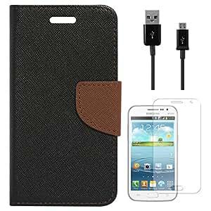 Mercury Goospery Wallet Cover For Samsung Galaxy Grand Quattro i8552 (Black) + Data Cable + Matte Screen
