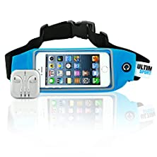 buy Running Waist Pack And Earbuds For Women + Men By Ultimate Sports Pro - Blue Lycra Fitness & Exercise Fanny Belt - Expandable Sweat Resistant Money Bag Or Runner Travel Pouch - 4.7 Inches