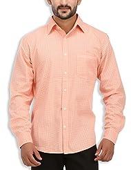 SPEAK Men's Orange Paisley Cotton Casual Shirt