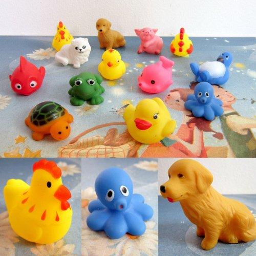 Bestpriceam (Tm) One Dozen 13Pcs Rubber Animals With Sound Baby Shower Party Favors Toy