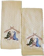 Croscill Christmas Nativity Scene Towels Set of 2 100 Cotton Towels Cream