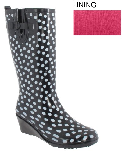 Capelli New York Ladies Polka Dot Wedge Rain Boot
