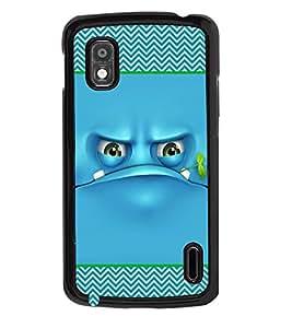 PRINTVISA Blue Eyes Premium Metallic Insert Back Case Cover for LG Nexus 4 - D5799
