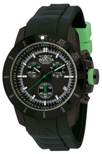 Invicta Men's Quartz Watch with Black Dial Chronograph Display and Black PU Strap 13935