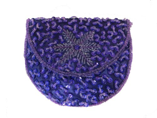 Purple Beaded Sequin Coin Purse Red Hat Ladies