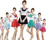 (R-Dream) セーラー服 コスプレ 半袖 選べるカラーとサイズ イベント ハロウィンコスチューム 衣裳 (パープル L)