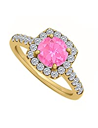 Halo Pink Sapphire And CZ Engagement Ring In 18K Yellow Gold Plated Vermeil