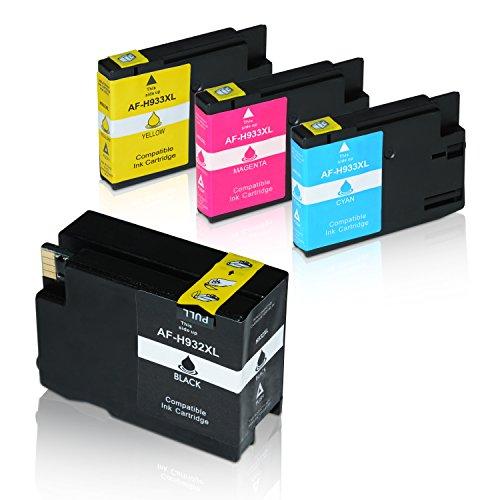 4 Tintenpatronen HP 932XL 933XL mit Chip und Füllstand für HP Officejet 6600 e-All-in-One Officejet 7110 WideFormat 6100 ePtrinter 6700 Premium 7610 WideFormat - CN053AE-CN056A - Schwarz 50ml, Farben je 16ml