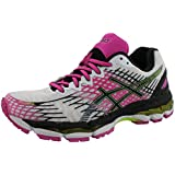 ASICS Women's Gel-Nimbus 17 Running Shoe,White/Black/Pink Glow,6.5 M US