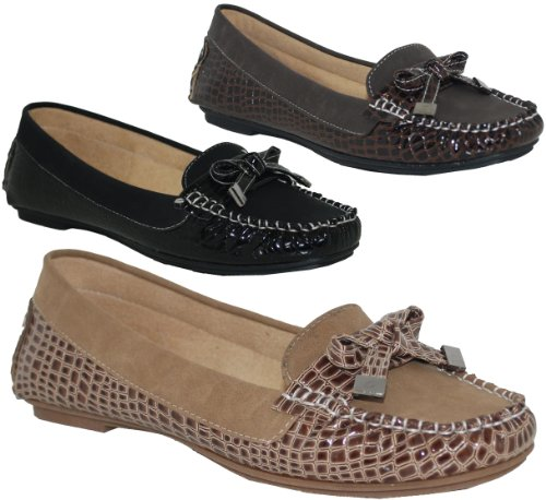 NEW LADIES FLAT SLIP ON LOAFER SHOES(LEATHER INSOLE) - SIZES (3-8)