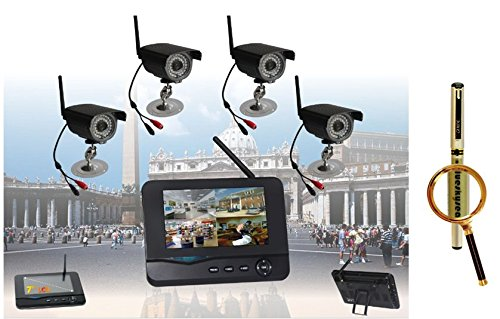 Digital Wireless Dvr Security System, Sd Card Recording With 7 Inch Lcd Monitor, 4 Long Range Night Vision Cameras + Blueskysea Free Gift Gel Pen