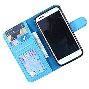 Dooda Genuine Leather Wallet Flip Case For Gionee Pioneer P2 (SKY BLUE)