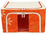 BlushBees Saree/Lehenga/Woolens Storage Organiser with Steel Frames. (Orange) 55L Medium