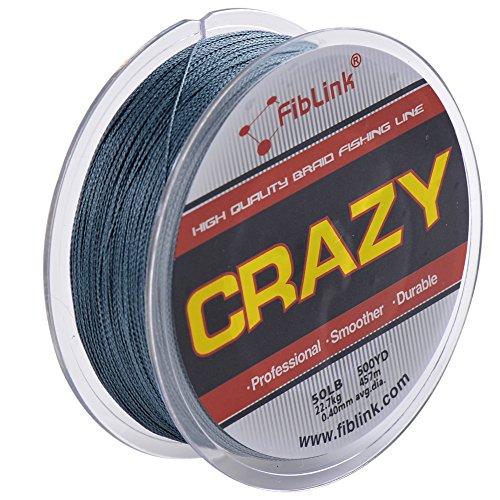 Fiblink 4 strand braid braided fishing line gray 300 for 80 lb braided fishing line