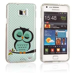 tinxi® Schutzhülle für Samsung Galaxy S2 i9100 Hülle TPU Silikon Rückschale Schutz Hülle Silicon Case mit Eule Owl Muster in Hellgrün