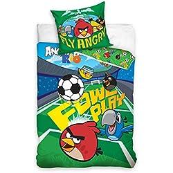 Parure di lenzuola, motivo: Angry Birds Rio calcio, copripiumino per letto singolo, 100% cotone