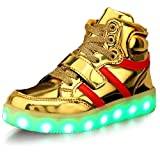USB Charging LED Kids Shoes Light Up High Top Fashion Sneaker (Gold 8.5)