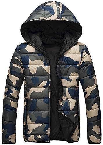 Fiream Herren Winter Neue Große Größen Camouflage Mit Kapuze Daunenjacken Mantel(Blau,EUR S)