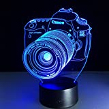 Circle Circle Camera 3D Optical Illusion Desk Lamp 7 Colors Change Touch Button and 15 Keys Remote Control Nightlight Produces Unique Visualization Lighting Effects Art Sculpture Light