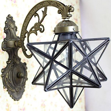 40W Mediterranean-Style Tiffany Five-Pointed Star Shape Transparent Glass Tiffany Wall Lamps - 1 Lights