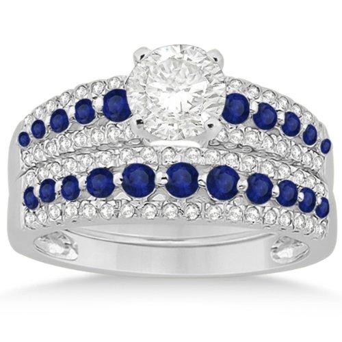 Semi-Eternity Three-Row Prong Setting Blue Sapphire and Diamond Bridal Set in Platinum 1.18ct