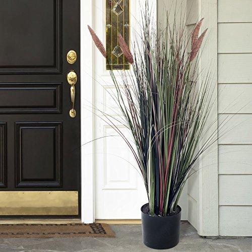 Pure garden ornamental artificial tall cattail grass 4 for Tall grass decor